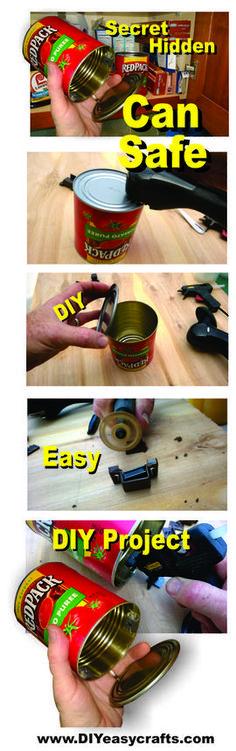 DIY Secret Hidden Can Safe. Step by step instructions. www.DIYeasycrafts.com