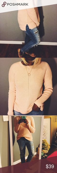 Banana Republic | Pink Sweater The new favorite sweater by Banana Republic! Beautiful blush/salmon color. Cozy. Side slits. Long arms. Can be dressed up or down. Smoke free, pet free home! Banana Republic Sweaters