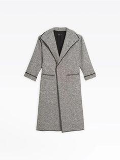 manteau long en bouclette chinée noir et blanc | agnès b. Collection, Fashion, Dress, Duster Coat, Black And White, Moda, Fashion Styles, Fasion
