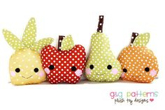 Toy Sewing Pattern - Kawaii Mini Fruit Pattern - Baby Toys, Party Favors - PDF Pattern. $6.00, via Etsy.