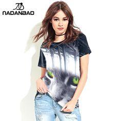 NADANBAO Brand New Design Summer Harajuku Animal Cat Shine Print Tees O-Neck Short Sleeve T Shirts Women Tops T-shirt