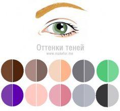Макияж для серо-зеленых глаз, тени