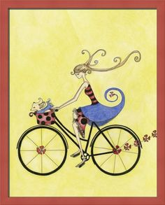 Limited Edition Illustration Free to Be by christahoward on Etsy Art And Illustration, Bicycle Illustration, Illustrations, Bicycle Art, Bicycle Drawing, Les Oeuvres, Photo Art, Wall Art Prints, Whimsical