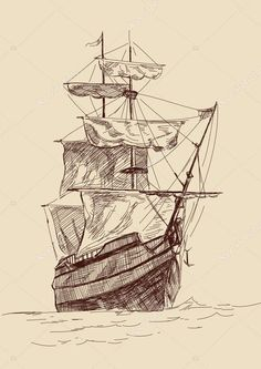 Retro old Ships vintage drawing vector illustration