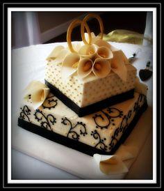 black white 50th anniversary cake