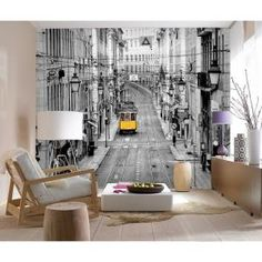Ideal Decor 144 in. W x 100 in. H Streets of Lisbon Wall Mural-DM971 - The Home Depot