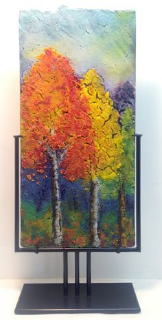 "SHADES OF AUTUMN by Anne Wren Nye 11.25 x 24.75"" Glass panel in stand"