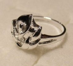 Size 7 1/2 Calla Lily Flower Silver Ring Plated FREE Shipping! PROM Jewelry!