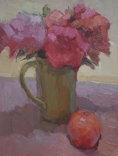 Kathryn Townsend Painting Studio: Green Mug with Orange
