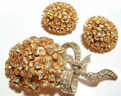 Vintage Brooch & Earrings Rhinestones Gold by BrightgemsTreasures, $34.50