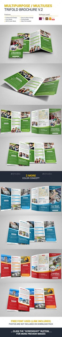 Multipurpose Trifold Brochure Template Vector EPS, InDesign INDD, AI Illustrator