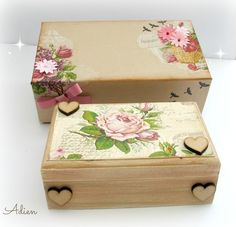 Hand Decorated Wooden Box with Gift Box Vintage Flowers £16.95