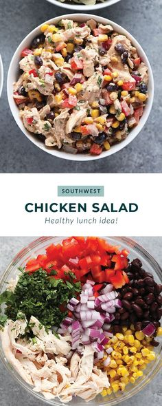 Lunch never tasted so good! Make our Southwest Chicken Salad for a colorful, veggie-packed lunch or dinner to keep you full all week long. Best Chicken Salad Recipe, Caprese Salad Recipe, Salmon Salad Recipes, Chopped Salad Recipes, Spinach Salad Recipes, Greek Salad Recipes, Easy Salads, Healthy Salad Recipes, Easy Chicken Recipes