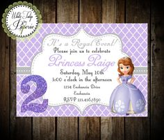 Sofia The First Birthday Invitation by WhiteTulipPaperie on Etsy, $8.95