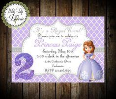 Sofia The First Birthday Invitation by WhiteTulipPaperie on Etsy, $8.95