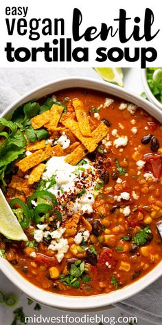 This creamy, flavor-forward, Vegan Lentil Tortilla Soup is the perfect quick and easy weeknight dinner! It takes just 20 Whole Food Recipes, Soup Recipes, Vegetarian Recipes, Dinner Recipes, Cooking Recipes, Healthy Recipes, Vegetarian Tortilla Soup, Vegetarian Kids, Kid Recipes
