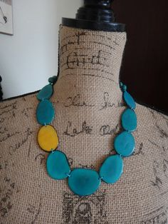 Tagua Necklace Turquoise and Yellow by IrmaGuzmanEcoJewelry