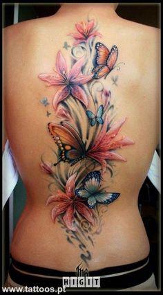 Flowers and butterflies tattoo