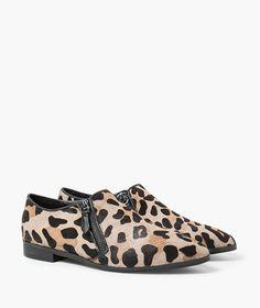 zip leopard print flats