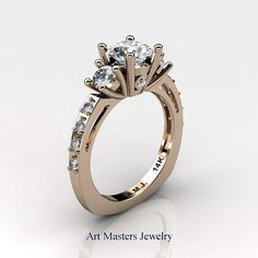 French 14K Rose Gold Three Stone 1.0 Carat White by artmasters
