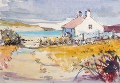 Original Watercolour Painting ACEO -Beach House - by Annabel Burton