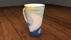 Cappuccino mug with my painting: I'm sailing - by Agota Horváth by ArtMarketManufactory on Etsy Collectible signed porcelaine coffee tee cup modern abstract fine art handmade painting by Ágota Horváth