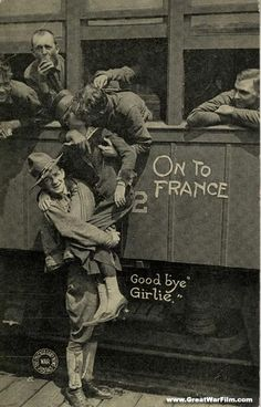 Goodbye Girlie  vintage WWI sweetheart postcard