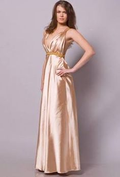 Champagne Satin A-line Prom Dress with V-neckline and Crossed Straps