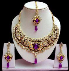 #Purple and #White Stone Studded #Necklace Set @ $37.50 | Shop @   http://www.utsavfashion.com/store/item.aspx?icode=jnc2341
