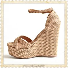 Pink & gold wicker wedges. <3