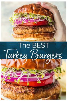 This is the BEST Turkey Burger Recipe. Turkey Burgers are a delicious and healthy burger option to replace ground beef. They're super juicy and flavorful, and they're easy to cook up on the stove. Try this turkey burger recipe instead of the usual beef bu Homemade Turkey Burgers, Ground Turkey Burgers, Best Turkey Burgers, Grilled Turkey Burgers, Greek Turkey Burgers, Turkey Burger Recipes, Ground Turkey Recipes, Beef Burgers, Turkey Burger Seasoning