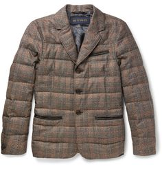 ETRO Slim-Fit Leather-Trimmed Checked Silk and Wool-Blend Down Jacket. #etro #cloth #coats and jackets