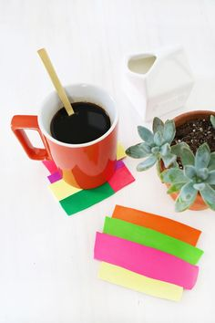 Colorblocked clay coasters