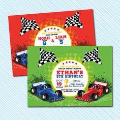 Digital Printable Race Car Birthday Invitation