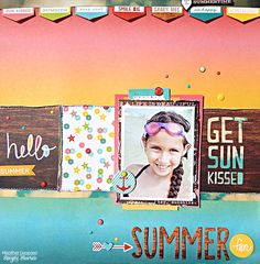 Summer Fun - Scrapbook.com - Love the distressed and stitched edges on this layout.