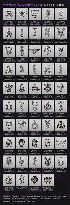 全グロンギ怪人 紋章柄ボディシール
