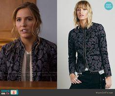 Maddie's studded paisley jacket on Nashville.  Outfit Details: https://wornontv.net/57277/ #Nashville