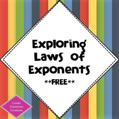 In this activity, students use their prior knowledge to investigate and discover some of the laws of exponents!  The specific exponent rules addressed in this minilesson are:-Product Rule-Power Rule-Quotient Rule-Power of a Product-Power of a QuotientThis activity gives gives learners the opportunity to develop a deeper understanding of the exponent rules because they are given the chance to see why they hold…