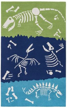 Perfect for a little one's bedroom or play area! Find this hand hooked dinosaur rug available in 4 color ways from Surya (PKB-7014).