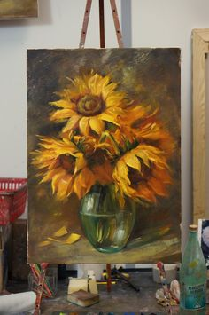 Photo Painting lessons with Oleg Buyko. Art Painting Gallery, Painting & Drawing, Art Floral, Watercolor Flowers, Watercolor Art, Sunflower Art, Flower Canvas, Pastel Art, Art Projects