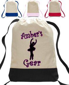 Girls Dance closure Totebag - Backpack personalized with name - Dance clothing bag - dance totebag - School Gym Bag Custom Made T Shirts, Custom Tees, Personalized Backpack, Best Commercials, Girl Dancing, Cloth Bags, Dance Outfits, Dance Bags, Gym Bag