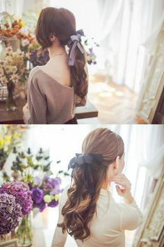 ponytails for girls | low tie | with ribbon bow | half up half down | curly | brunette | wavy