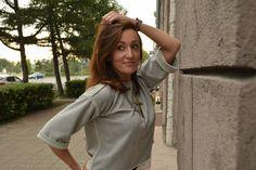 Inside-out seams blouse. Knitwear box top. Women's grey box top. Minimalist blouse.