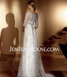 Empire V-neck Sweep Train Satin Tulle Wedding Dresses With Lace Sashes Beadwork (002004151) - JenJenHouse.com