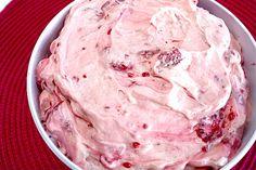 Raspberry Vanilla Jello Salad- 4 ingredients!   1 box (5.1 oz) instant vanilla pudding (dry) mixed into 32 oz. container vanilla yogurt then add 8 oz. container Cool Whip (thawed) and stir in 1 pkg. frozen raspberries