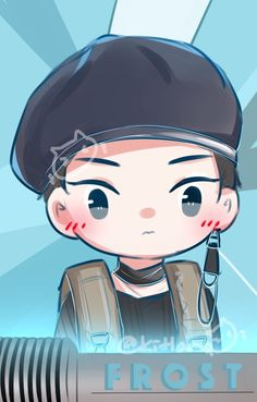 Xiumin Kpop Exo, Exo Xiumin, Exo Cartoon, Dog Comics, Exo Fan Art, Exo Lockscreen, Exo Members, Girl And Dog, Kpop Fanart