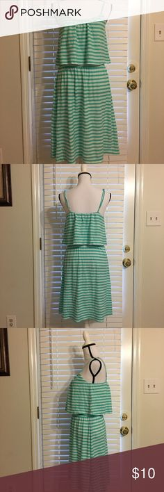 """Gramicci Mint Green & White Striped Sundress Mint green and white striped sundress with cinched empire waist and adjustable straps. In great used condition, only worn a few times. 100% cotton, machine wash separately. Approximate measurements: Bust 36"""" Waist 30"""" Hips 42"""". Gramicci Dresses Midi"""