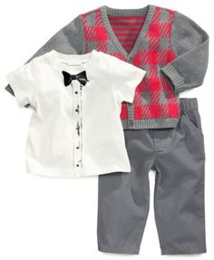 97c5bd7d639e50 First Impressions Baby Set, Baby Boys 3-Piece Bowtie Tee, Cardigan and Pants