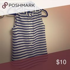 J.Crew striped button down tank Cream and navy blue striped collared sleeveless blouse J.Crew Factory Tops Button Down Shirts