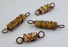 This copper wire wrapped paper bead is not only unique, but is fun to make as well. It was made by using copper wire and paper. These beads would be. Paper Bead Jewelry, Wire Jewelry, Jewelry Crafts, Beaded Jewelry, Jewlery, Jewelry Findings, Wire Earrings, Jewellery Box, Paper Earrings